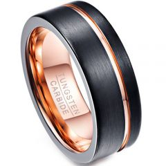 (Wholesale)Tungsten Carbide Black Rose Offset Groove Ring-4691