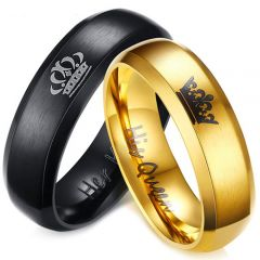 (Wholesale)Tungsten Carbide King Queen Crown Ring - TG4713
