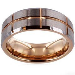 (Wholesale)Tungsten Carbide Vertical & Horizontal Groove Ring-47