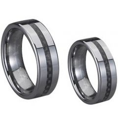 (Wholesale)Tungsten Carbide Ring With Carbon Fiber - TG707