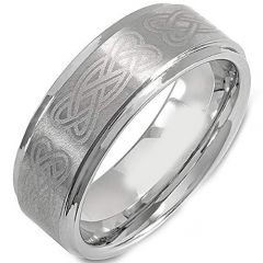 (Wholesale)Tungsten Carbide Celtic Step Edges Ring - TG725