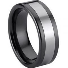 (Wholesale)Tungsten Carbide Double Grooves Ring - TG739