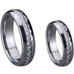 (Wholesale)Tungsten Carbide Faceted Carbon Fiber Ring-780