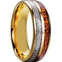 (Wholesale)Tungsten Carbide Wood & Imitate Meteorite Ring-793AA