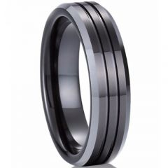 (Wholesale)Tungsten Carbide Double Grooves Ring-TG846