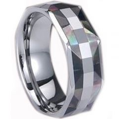 (Wholesale)Tungsten Carbide Abalone Shell Ring - TG846
