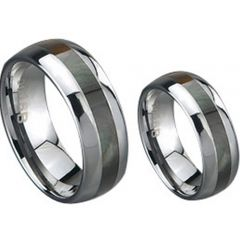 (Wholesale)Tungsten Carbide Dome Abalone Shell Ring - TG849