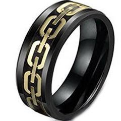 (Wholesale)Black Tungsten Carbide Key Chain Inlays Ring - TG8