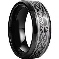 (Wholesale)Black Tungsten Carbide Mo Anam Cara Ring - TG956AA