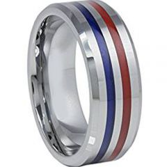 (Wholesale)Tungsten Carbide Blue Red Resin Ring - TG968AA