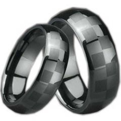 (Wholesale)Black Ceramic Checkered Flag Dome Ring - TG995