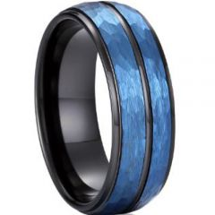 (Wholesale)Tungsten Carbide Black Blue Faceted Ring - TG4042AA