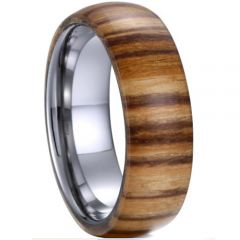 (Wholesale)Tungsten Carbide Wood Dome Court Ring - TG4050A