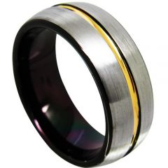 (Wholesale)Tungsten Carbide Black Gold Center Groove Ring-4366