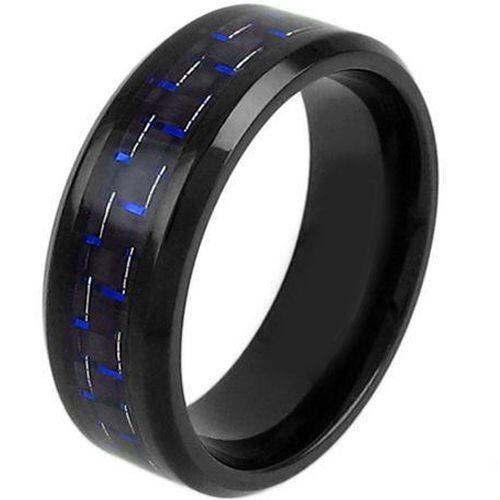 (Wholesale)Black Tungsten Carbide Carbon Fiber Ring-TG3791