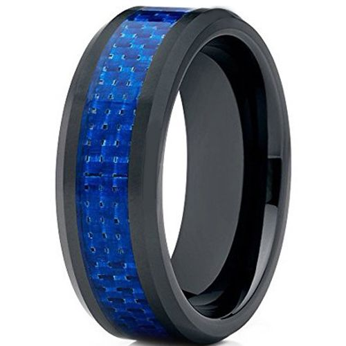 (Wholesale)Black Tungsten Carbide Carbon Fiber Ring-TG2423