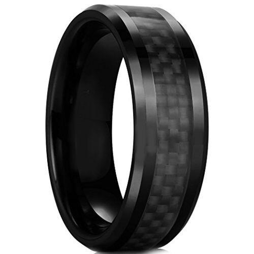 (Wholesale)Black Tungsten Carbide Carbon Fiber Ring-TG2289