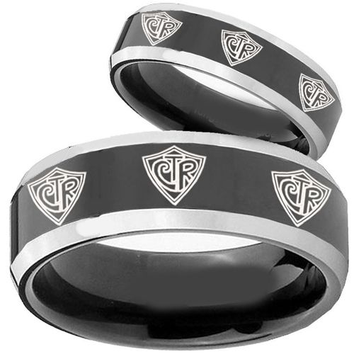 (Wholesale)Tungsten Carbide Beveled Edges CTR Ring - TG2432