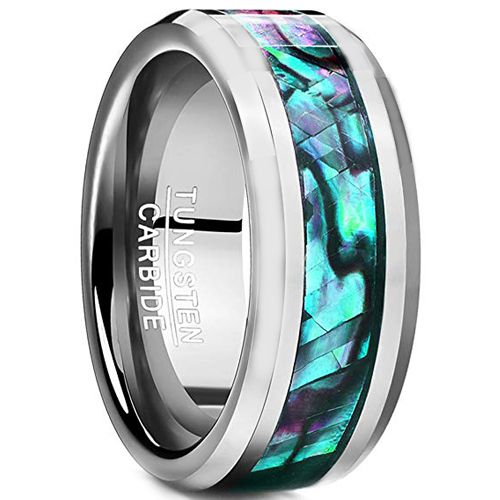 (Wholesale)Tungsten Carbide Abalone Shell Ring - TG2436