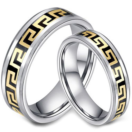 (Wholesale)Tungsten Carbide Greek Key Inlays Ring-2956A