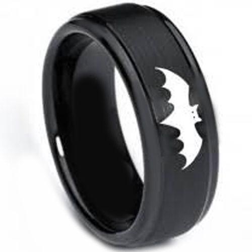 (Wholesale)Black Tungsten Carbide Batman Ring-TG326