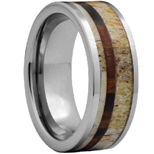 (Wholesale)Tungsten Carbide Deer Antler Wood Ring - TG4479