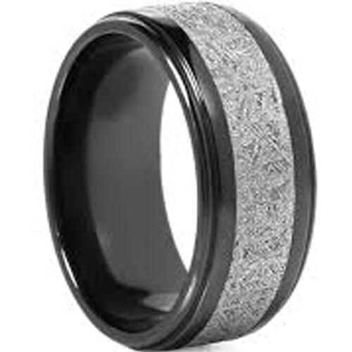 (Wholesale)Black Tungsten Carbide Imitate Meteorite Ring - TG456