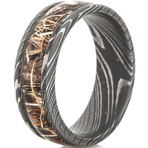 (Wholesale)Black Tungsten Carbide Damascus Ring With Camo-4565