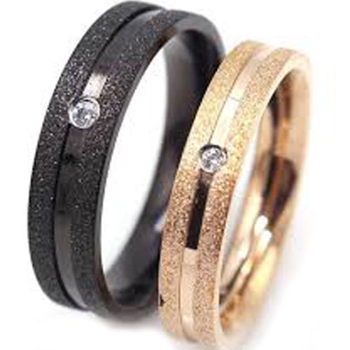 (Wholesale)Tungsten Carbide Black/Rose Sandblasted Ring - TG4594