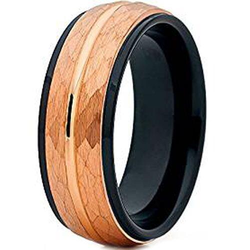 (Wholesale)Tungsten Carbide Black Rose Hammered Ring - TG4626