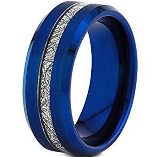 (Wholesale)Blue Tungsten Carbide Imitate Meteorite Ring - TG4