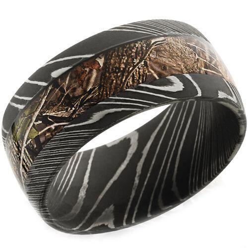 (Wholesale)Black Tungsten Carbide Camo Damascus Ring - TG4656