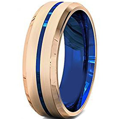(Wholesale)Tungsten Carbide Rose Blue Center Groove Ring-4740