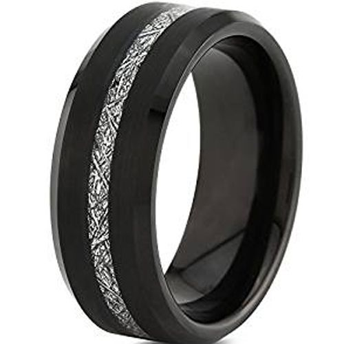(Wholesale)Black Tungsten Carbide Imitate Meteorite Ring-TG4747