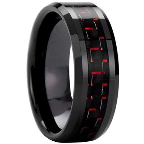 (Wholesale)Black Tungsten Carbide Carbon Fiber Ring-TG3693