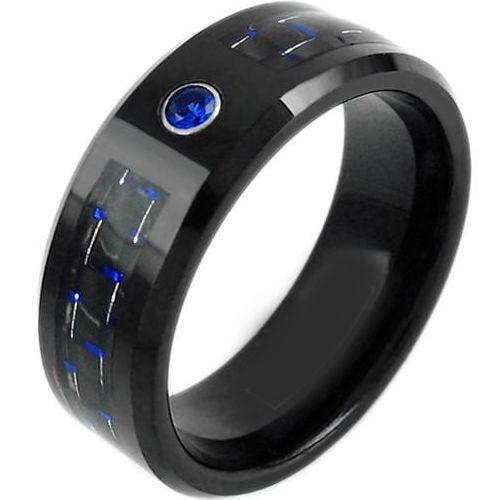 (Wholesale)Black Tungsten Carbide Carbon Fiber & CZ Ring-TG3748