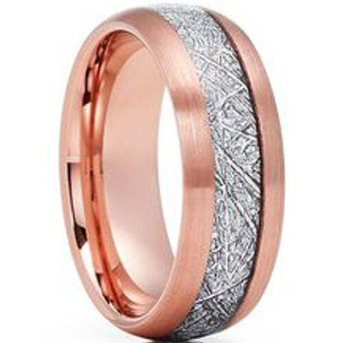 (Wholesale)Rose Tungsten Carbide Imitate Meteorite Ring - TG3465