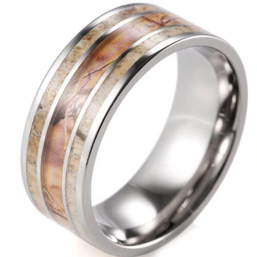 (Wholesale)Tungsten Carbide Camo Deer Antler Ring - 1992