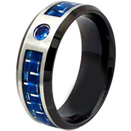 (Wholesale)Tungsten Carbide Carbon Fiber & CZ Ring-TG1127