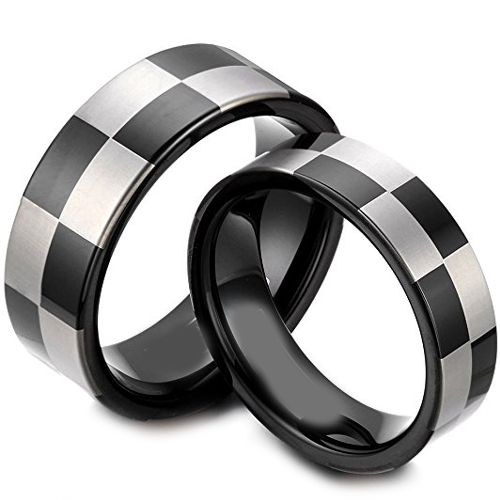 (Wholesale)Tungsten Carbide Checkered Flag Ring - TG1418AA