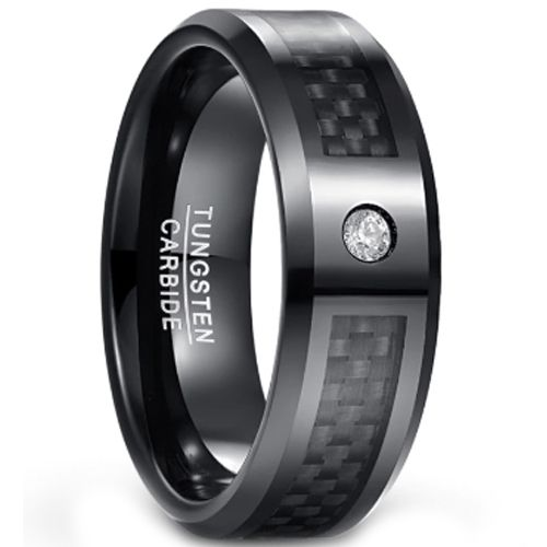 (Wholesale)Black Tungsten Carbide Carbon Fiber Ring-1567
