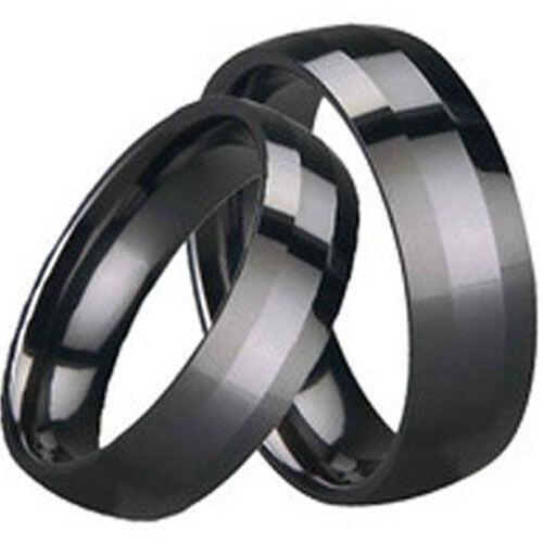 (Wholesale)Black Tungsten Carbide Beveled Edges Ring - TG1647