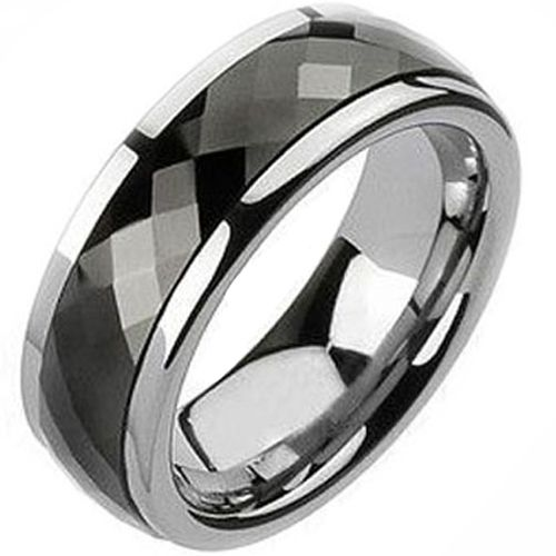 (Wholesale)Tungsten Carbide Faceted Ring - TG1743A