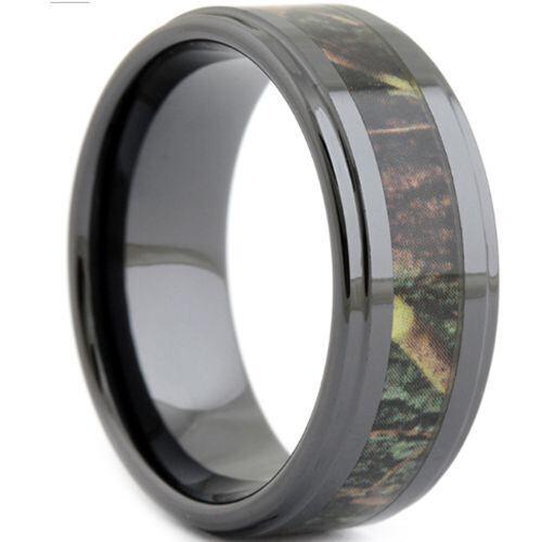 (Wholesale)Black Tungsten Carbide Camo Ring - TG1807
