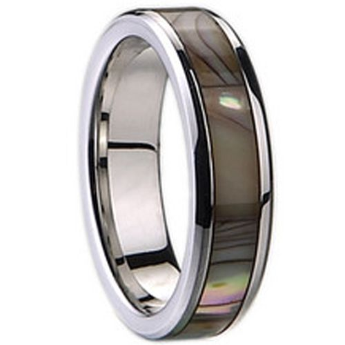 (Wholesale)Tungsten Carbide Abalone Shell Ring-1911