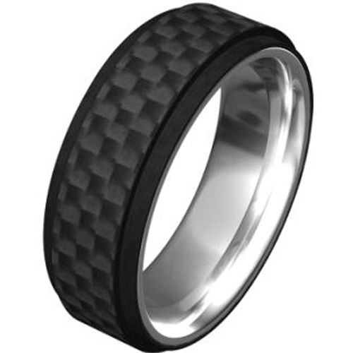 (Wholesale)Tungsten Carbide Ring With Carbon Fiber-TG1948A