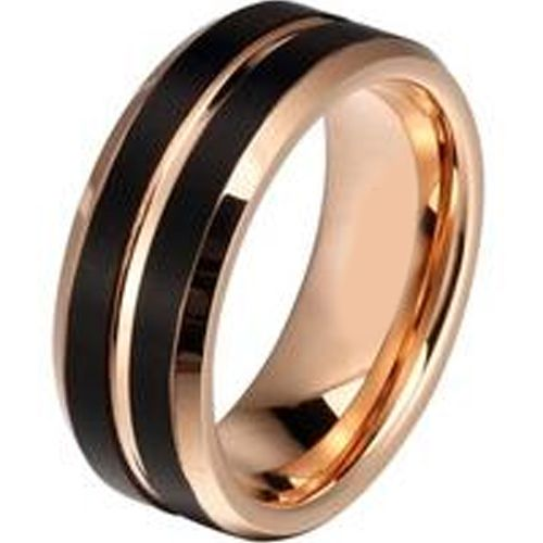(Wholesale)Tungsten Carbide Black Rose Center Groove Ring-2058AA