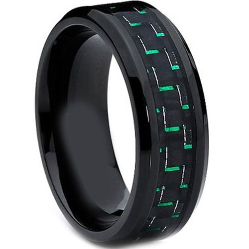 (Wholesale)Black Tungsten Carbide Carbon Fiber Ring-TG2213