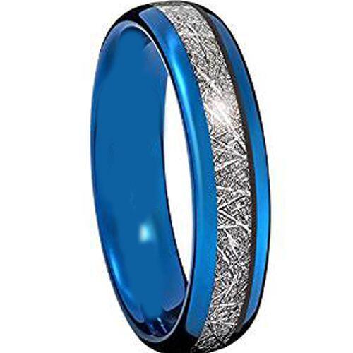 (Wholesale)Blue Tungsten Carbide Imitate Meteorite Ring - TG2272