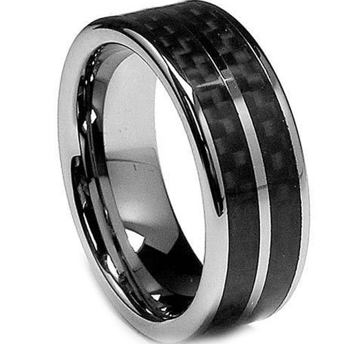 (Wholesale)Tungsten Carbide Ring With Carbon Fiber-TG2347
